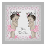 Pink Vintage Twin Baby Girl Princess Posters