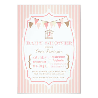"Pink vintage typography baby shower invitation 5"" x 7"" invitation card"