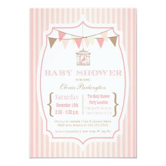 Pink vintage typography baby shower invitation
