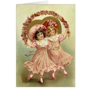 Pink Vintage Valentine's Day Friendship Card at Zazzle
