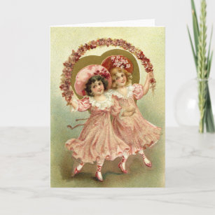 Pink Vintage Valentine's Day Friendship Holiday Card