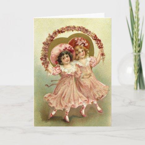 Pink Vintage Valentine's Day Friendship Holiday Card