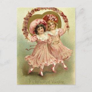 Pink Vintage Valentine's Day Friendship Holiday Postcard