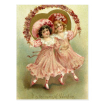 Pink Vintage Valentine's Day Friendship Postcard