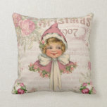 Pink Vintage Victorian Girl Roses Throw Pillow
