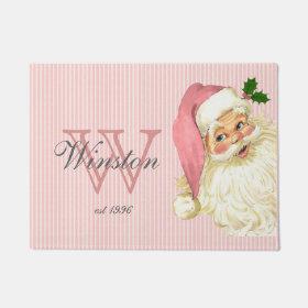Pink Vintage Victorian Santa Claus Monogram Doormat