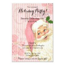 Pink Vintage Victorian Santa Claus Roses Card