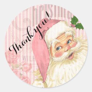 Pink Vintage Victorian Santa Claus Roses Classic Round Sticker