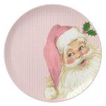 Pink Vintage Victorian Santa Claus Shabby Dinner Plate