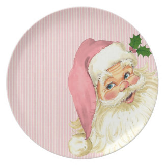 Pink Vintage Victorian Santa Claus Shabby Dinner Plate