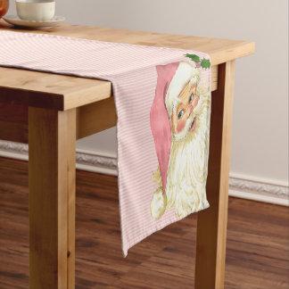 Pink Vintage Victorian Santa Claus Shabby Short Table Runner