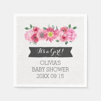 Pink Vintage Watercolor Floral Baby Shower Paper Napkin