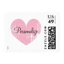 Pink vintage weathered heart wedding stamps