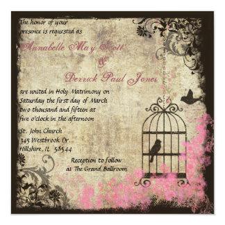 Pink Vintage Wedding Birdcage Invitation