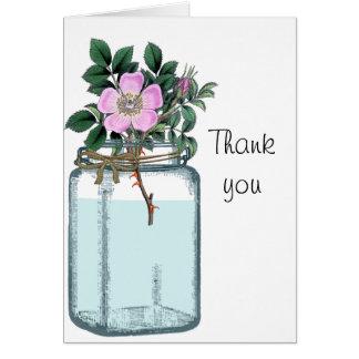 Pink Vintage Wild Rose in Mason Jar Greeting Card