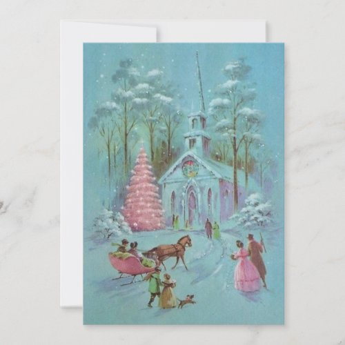 Pink Vintage Winter Christmas Church Holiday Card