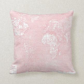 Pink Vintage World Map Pillow