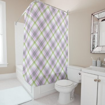 Pink Violet Purple Lime Green White Tartan Plaid Shower Curtain