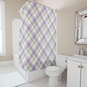 Beach Themed Pink Violet Purple Lime Green White Tartan Plaid Shower Curtain