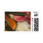 Pink Violin and Guitar Postage Stamp