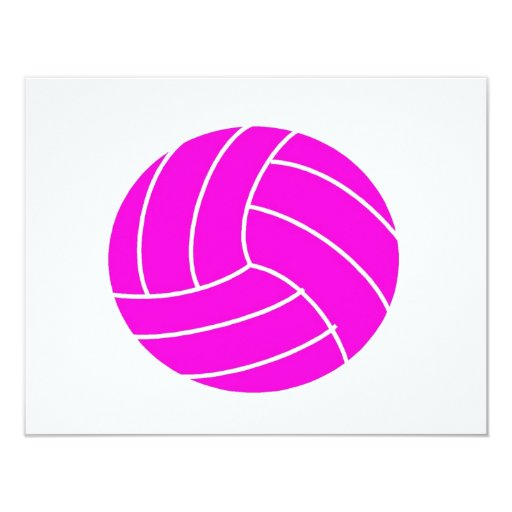 Pink Volleyball 4.25x5.5 Paper Invitation Card