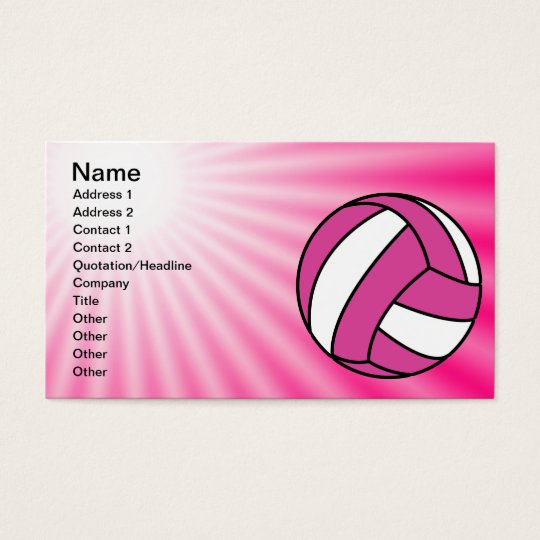 Pink Volleyball Business Card