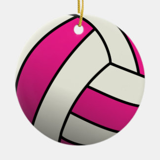 Pink Volleyball Ceramic Ornament
