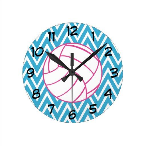 Pink Volleyball Chevron Zigzag Pattern Wall Clock