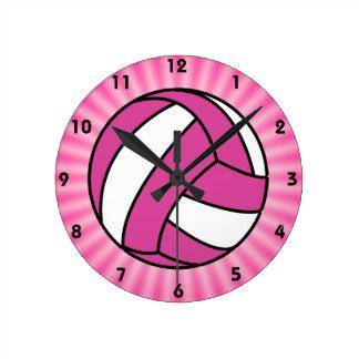Pink Volleyball Round Wallclocks