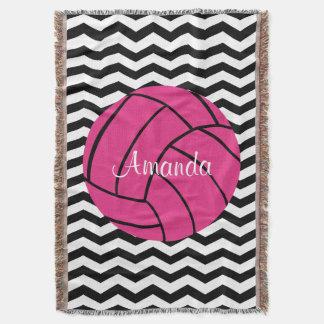 Pink Volleyball Custom Monogram Throw Blanket