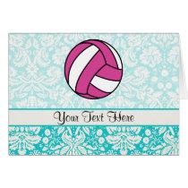 Pink Volleyball; Damask Pattern