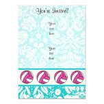 Pink Volleyball; Damask Pattern 5x7 Paper Invitation Card