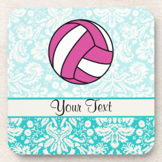 Pink Volleyball; Damask Pattern Beverage Coaster