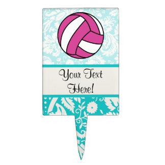 Pink Volleyball; Damask Pattern Cake Topper