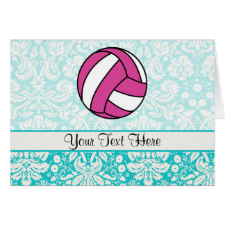 Pink Volleyball; Damask Pattern Greeting Card