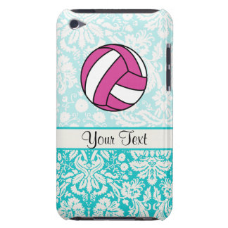 Pink Volleyball; Damask Pattern Barely There iPod Cases