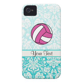 Pink Volleyball; Damask Pattern iPhone 4 Case