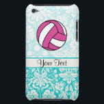 "Pink Volleyball; Damask Pattern iPod Case-Mate Case<br><div class=""desc"">You will love this cute teal damask pattern volleyball player girl design. Great for gifts! Available on tee shirts, smart phone cases, mousepads, keychains, posters, cards, electronic covers, computer laptop / notebook sleeves, caps, mugs, and more! Visit our site for a custom gift case for Samsung Galaxy S3, iphone 5,...</div>"