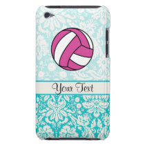 Pink Volleyball; Damask Pattern iPod Case-Mate Case