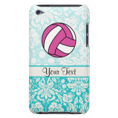 Pink Volleyball; Damask Pattern Ipod Case-mate Case at Zazzle