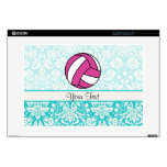 Pink Volleyball; Damask Pattern Laptop Decal