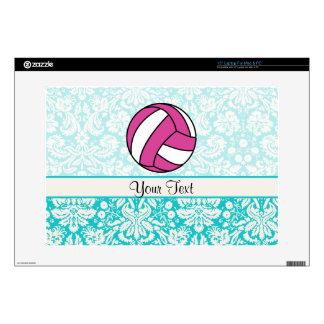 Pink Volleyball; Damask Pattern Laptop Skins