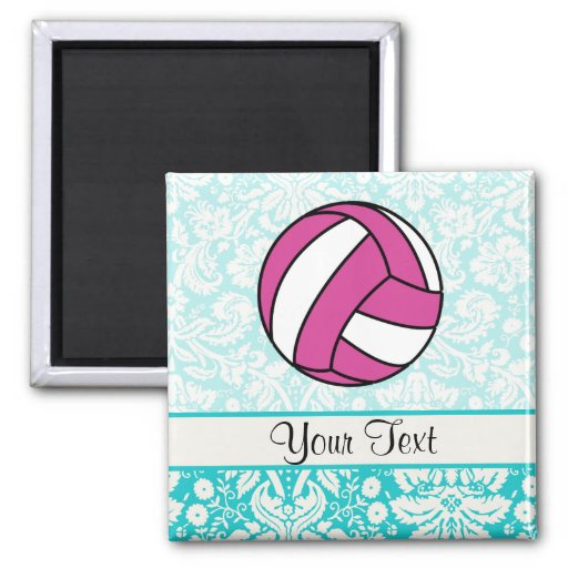 Pink Volleyball; Damask Pattern 2 Inch Square Magnet