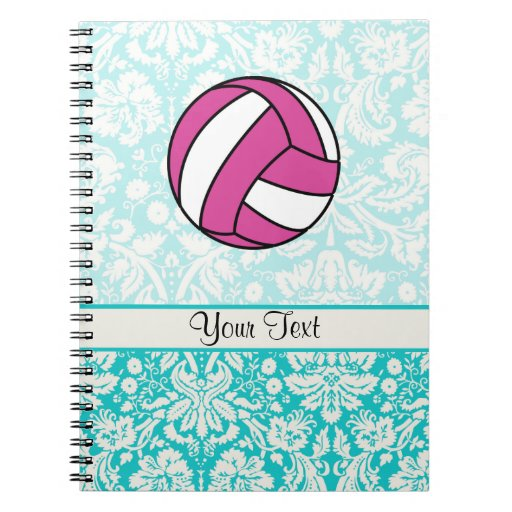 Pink Volleyball; Damask Pattern Spiral Note Books