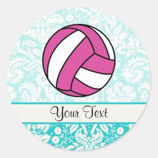 Pink Volleyball; Damask Pattern Classic Round Sticker