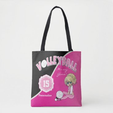 Beach Themed Pink Volleyball Diva Girl Tote Bag