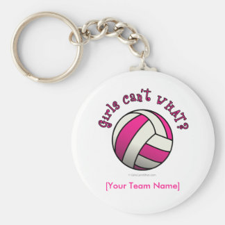 Pink Volleyball Basic Round Button Keychain
