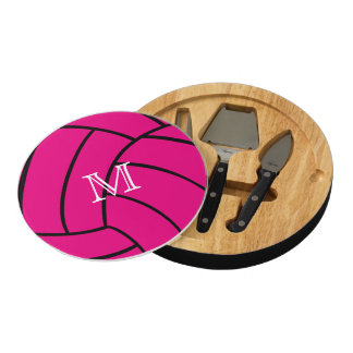 Pink Volleyball Monogram Cheese Board