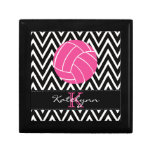 Pink Volleyball Monogram Chevron Jewelry Box