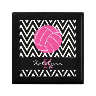 Pink Volleyball Monogram Chevron Jewelry Box
